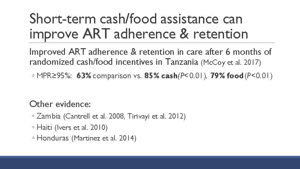 Short-term cash/food assistance can improve ART adherence & retention Improved ART adherence & retention