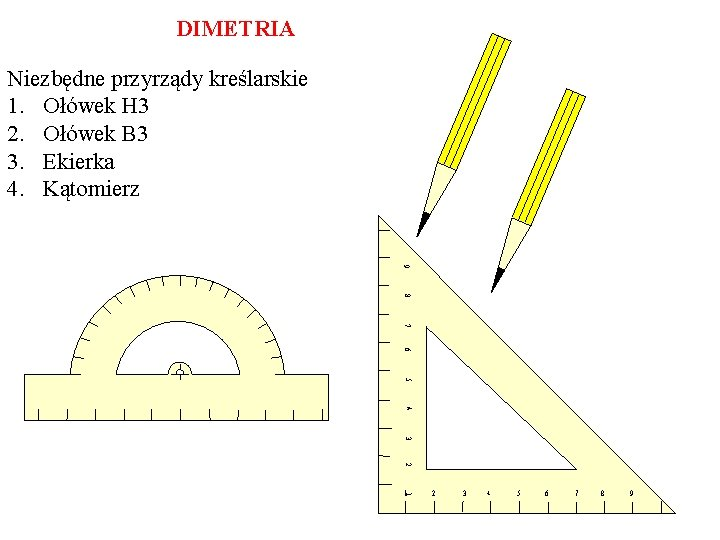 DIMETRIA Niezbędne przyrządy kreślarskie 1. Ołówek H 3 2. Ołówek B 3 3. Ekierka