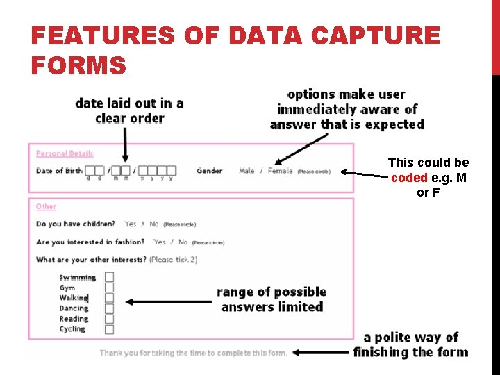 FEATURES OF DATA CAPTURE FORMS This could be coded e. g. M or F