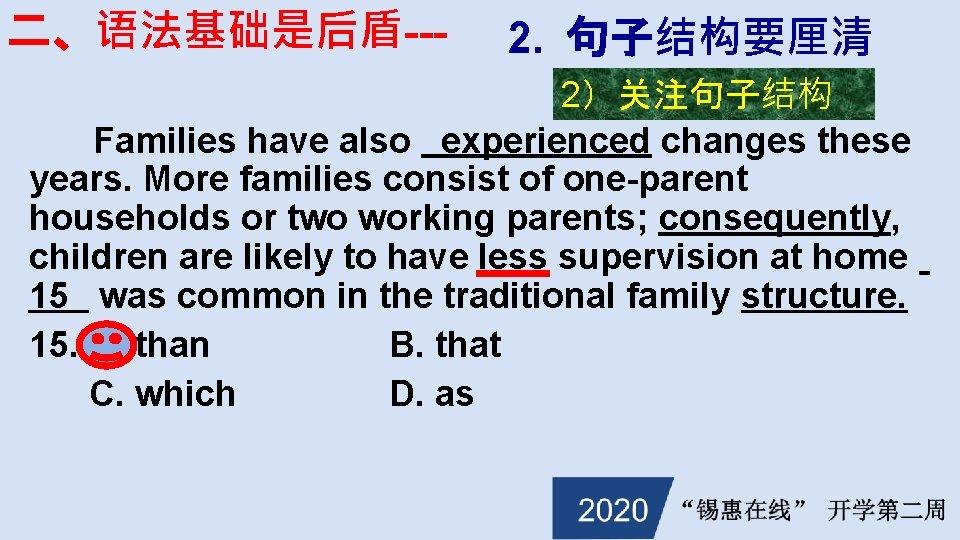 二、语法基础是后盾--- 2. 句子结构要厘清 2)关注句子结构 Families have also experienced changes these years. More families consist