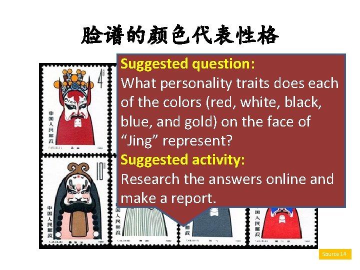 脸谱的颜色代表性格 Suggested question: What personality traits does each of the colors (red, white, black,