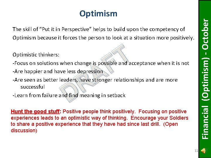 """Financial (Optimism) - October Optimism The skill of """"Put it in Perspective"""" helps to"""