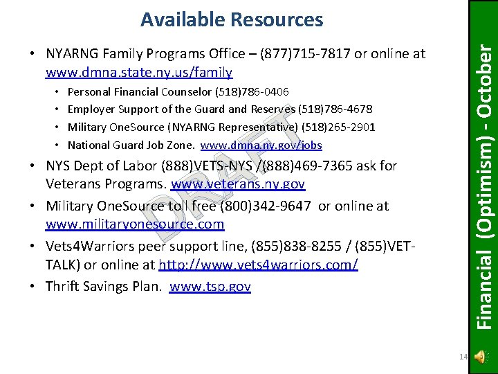 Financial (Optimism) - October Available Resources • NYARNG Family Programs Office – (877)715 -7817