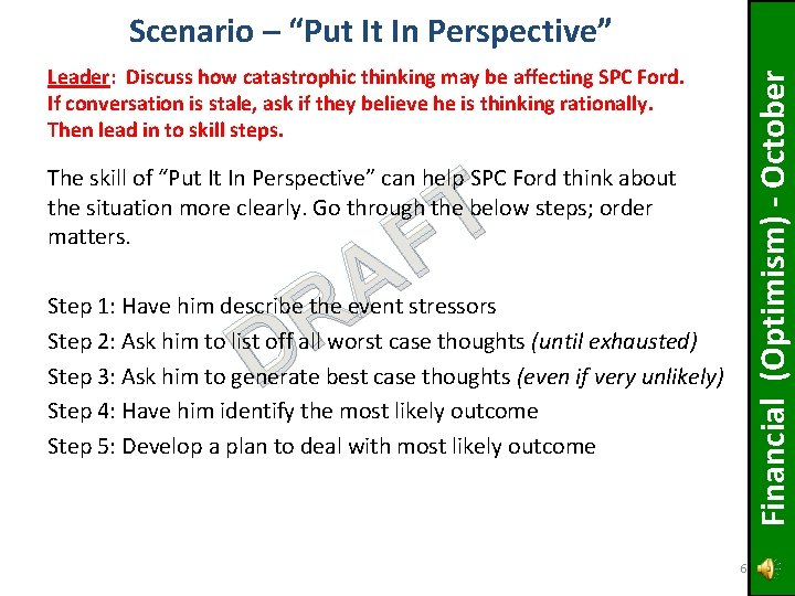 Leader: Discuss how catastrophic thinking may be affecting SPC Ford. If conversation is stale,