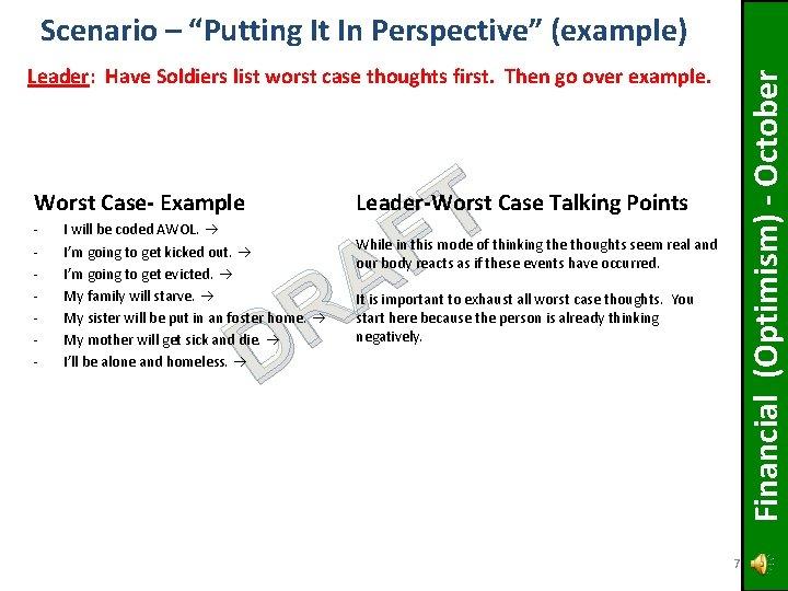 "Scenario – ""Putting It In Perspective"" (example) Worst Case- Example - Financial (Optimism) -"