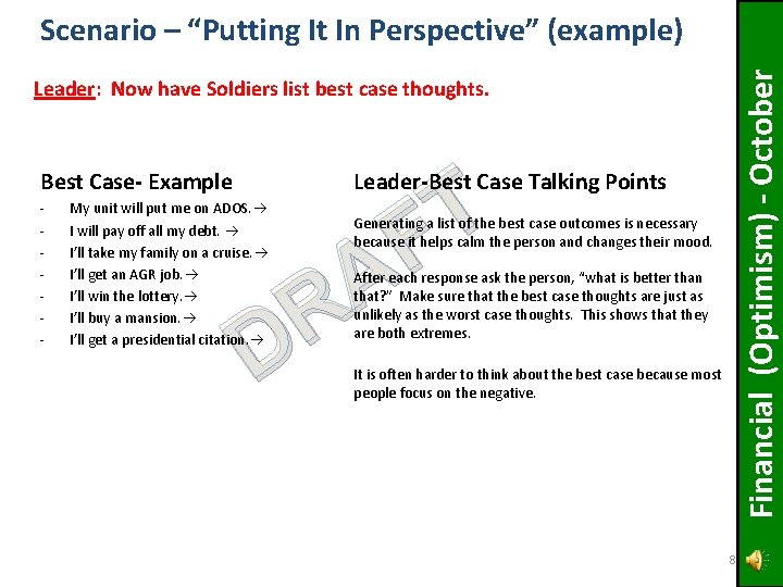 """Financial (Optimism) - October Scenario – """"Putting It In Perspective"""" (example) Leader: Now have"""