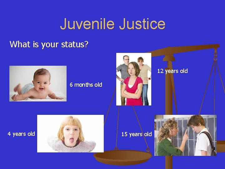 Juvenile Justice What is your status? 12 years old 6 months old 4 years