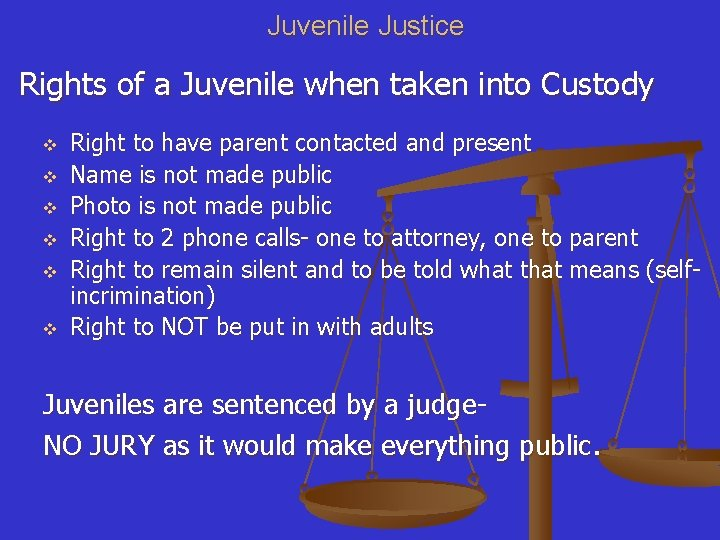 Juvenile Justice Rights of a Juvenile when taken into Custody v v v Right