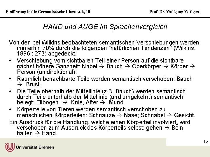 Einführung in die Germanistische Linguistik, 10 Prof. Dr. Wolfgang Wildgen HAND und AUGE im
