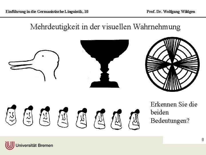 Einführung in die Germanistische Linguistik, 10 Prof. Dr. Wolfgang Wildgen Mehrdeutigkeit in der visuellen