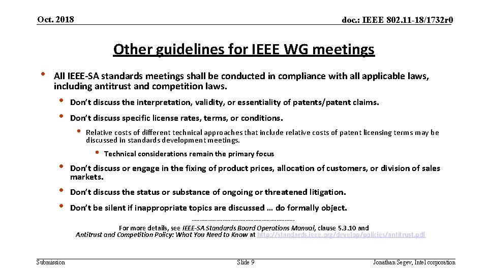 Oct. 2018 doc. : IEEE 802. 11 -18/1732 r 0 Other guidelines for IEEE