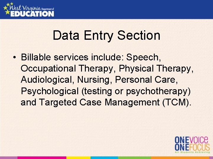 Data Entry Section • Billable services include: Speech, Occupational Therapy, Physical Therapy, Audiological, Nursing,