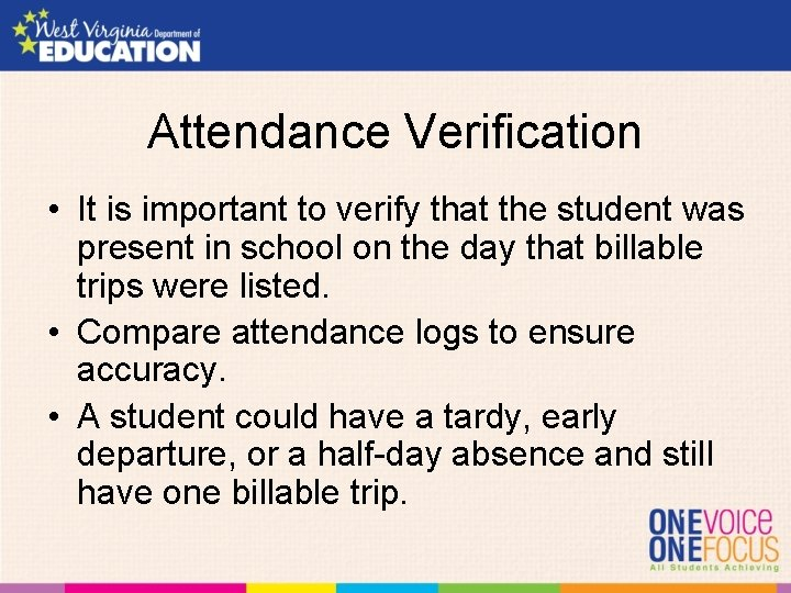 Attendance Verification • It is important to verify that the student was present in
