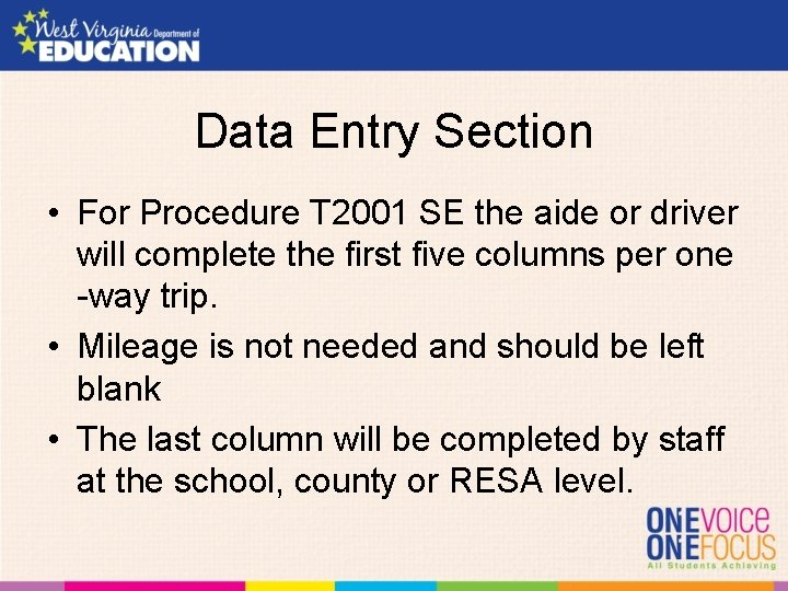 Data Entry Section • For Procedure T 2001 SE the aide or driver will