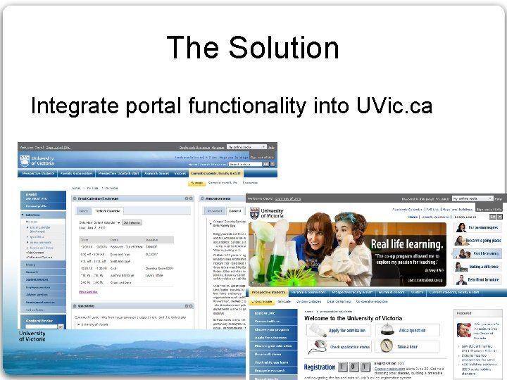 The Solution Integrate portal functionality into UVic. ca