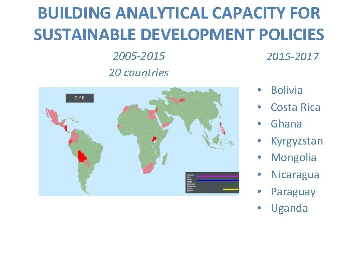 BUILDING ANALYTICAL CAPACITY FOR SUSTAINABLE DEVELOPMENT POLICIES 2005 -2015 20 countries 2015 -2017 •