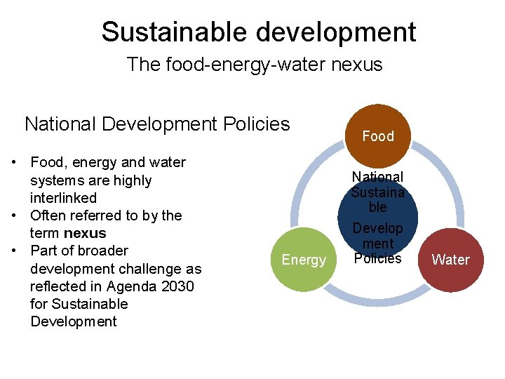 Sustainable development The food-energy-water nexus National Development Policies • Food, energy and water systems
