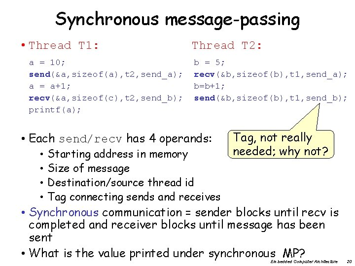 Synchronous message-passing • Thread T 1: a = 10; send(&a, sizeof(a), t 2, send_a);