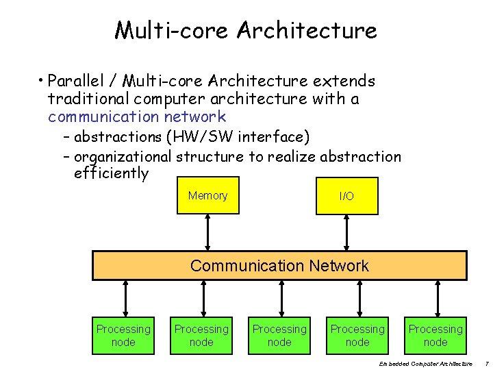 Multi-core Architecture • Parallel / Multi-core Architecture extends traditional computer architecture with a communication