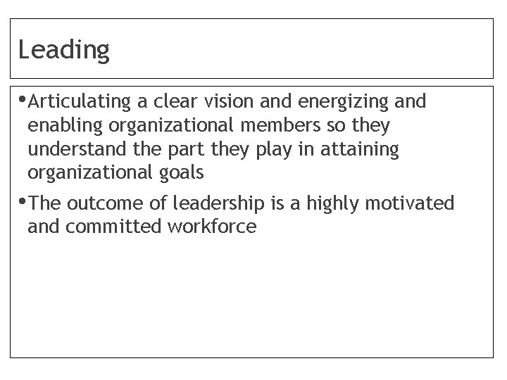 Leading • Articulating a clear vision and energizing and enabling organizational members so they