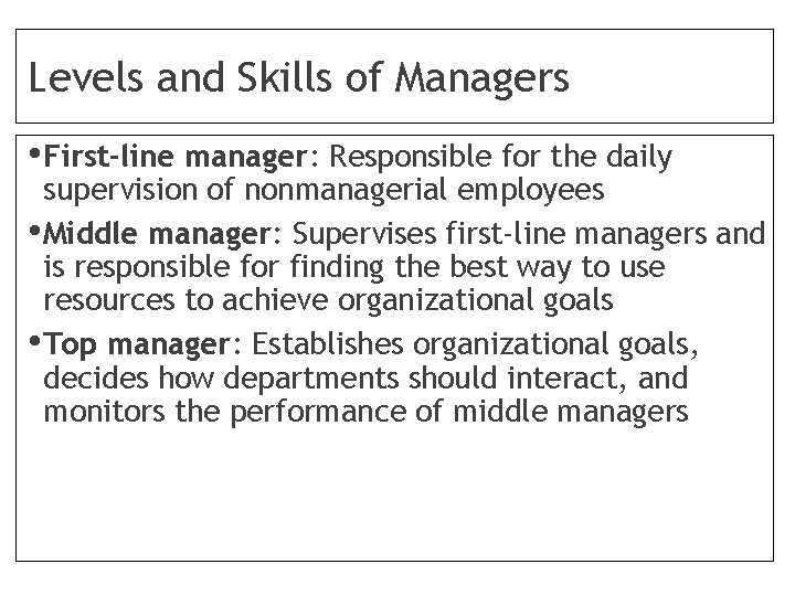Levels and Skills of Managers • First-line manager: Responsible for the daily supervision of