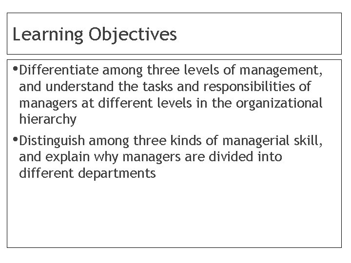 Learning Objectives • Differentiate among three levels of management, and understand the tasks and