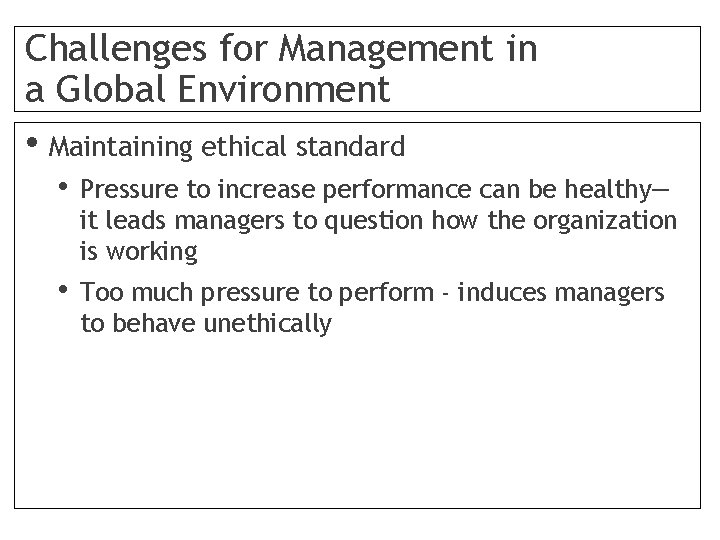 Challenges for Management in a Global Environment • Maintaining ethical standard • Pressure to