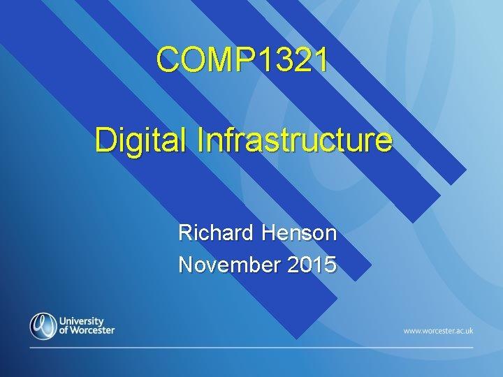 COMP 1321 Digital Infrastructure Richard Henson November 2015