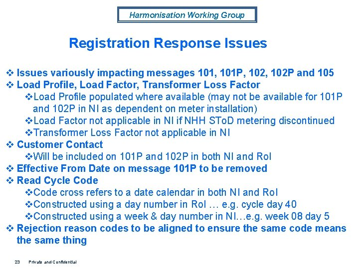 Harmonisation Working Group Registration Response Issues variously impacting messages 101, 101 P, 102 P