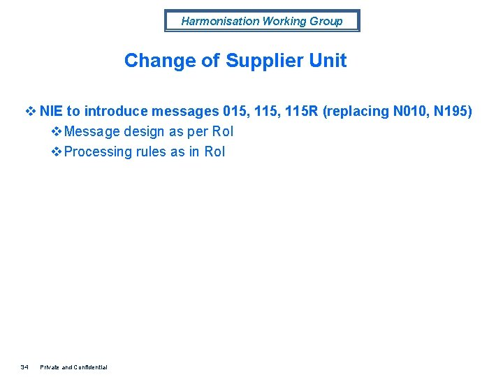 Harmonisation Working Group Change of Supplier Unit v NIE to introduce messages 015, 115