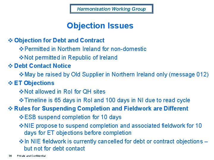 Harmonisation Working Group Objection Issues v Objection for Debt and Contract v. Permitted in