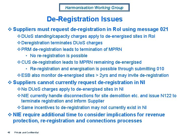 Harmonisation Working Group De-Registration Issues v Suppliers must request de-registration in Ro. I using