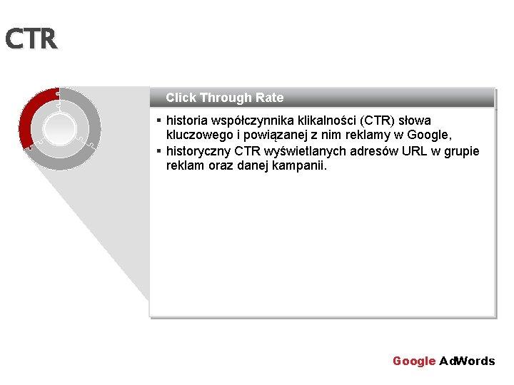 CTR Click Through Rate § historia współczynnika klikalności (CTR) słowa kluczowego i powiązanej z