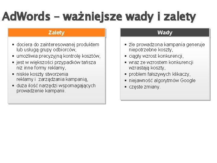 Ad. Words – ważniejsze wady i zalety Zalety Wady § dociera do zainteresowanej produktem