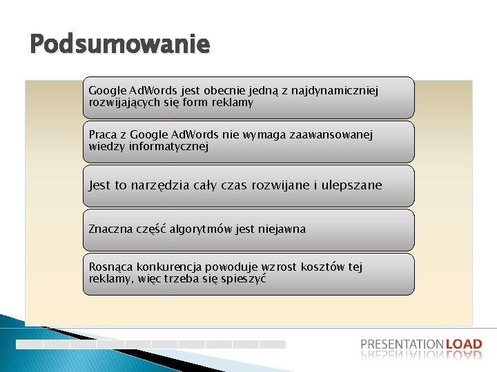 Podsumowanie Google Ad. Words jest obecnie jedną z najdynamiczniej rozwijających się form reklamy Praca
