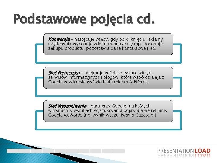 Podstawowe pojęcia cd. Konwersja - następuje wtedy, gdy po kliknięciu reklamy użytkownik wykonuje zdefiniowaną