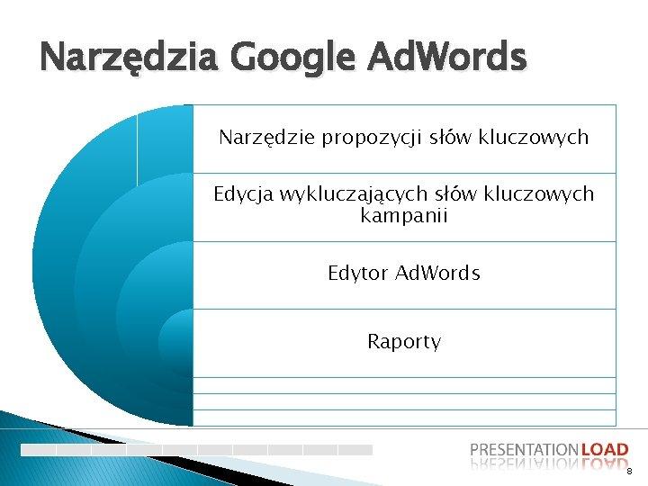 Narzędzia Google Ad. Words Narzędzie propozycji słów kluczowych Edycja wykluczających słów kluczowych kampanii Edytor