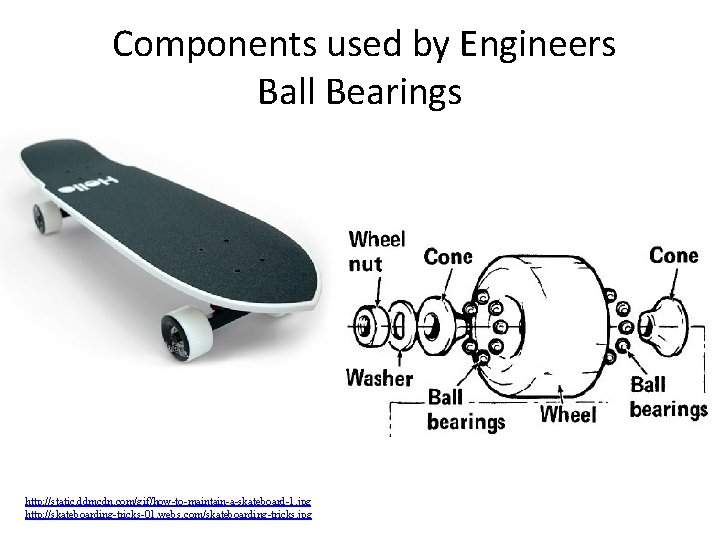 Components used by Engineers Ball Bearings http: //static. ddmcdn. com/gif/how-to-maintain-a-skateboard-1. jpg http: //skateboarding-tricks-01.