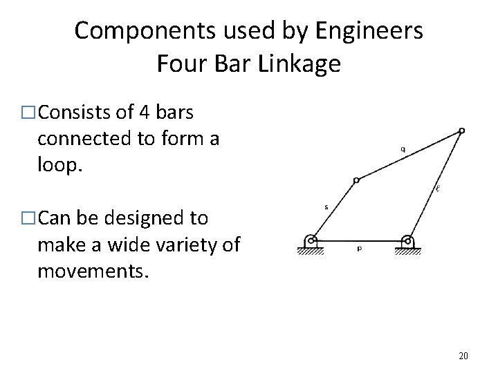 Components used by Engineers Four Bar Linkage �Consists of 4 bars connected to form