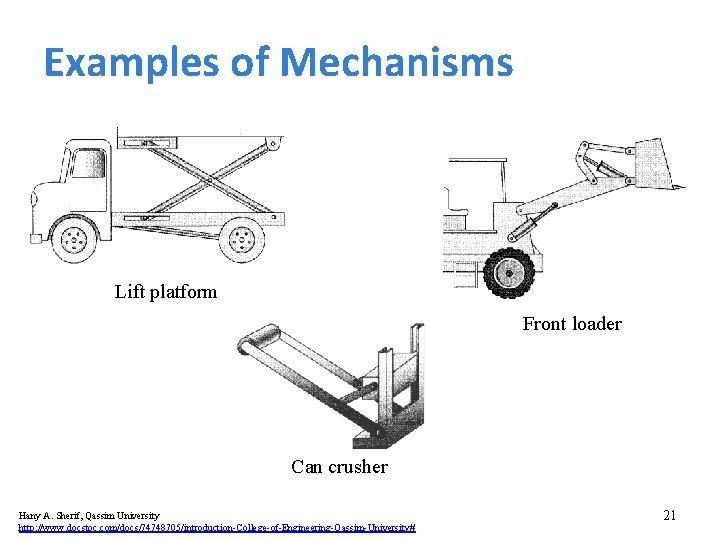 Examples of Mechanisms Lift platform Front loader Can crusher Hany A. Sherif, Qassim University