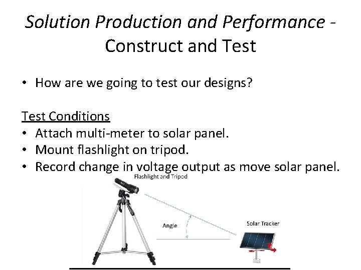 Solution Production and Performance Construct and Test • How are we going to test