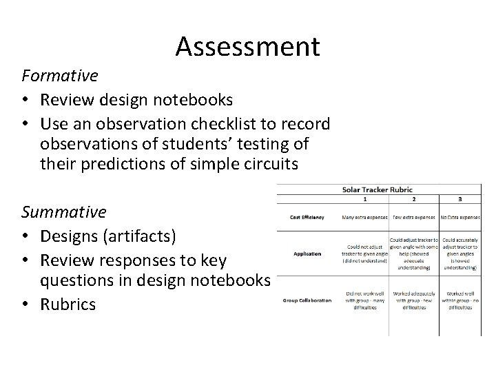Assessment Formative • Review design notebooks • Use an observation checklist to record observations