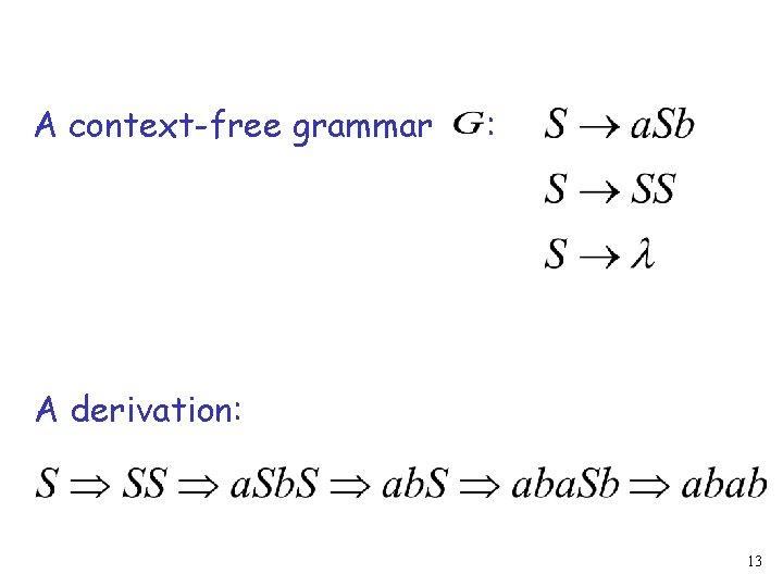 A context-free grammar : A derivation: 13