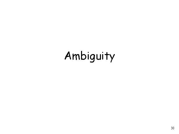 Ambiguity 30