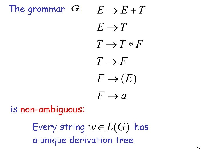 The grammar : is non-ambiguous: Every string has a unique derivation tree 46