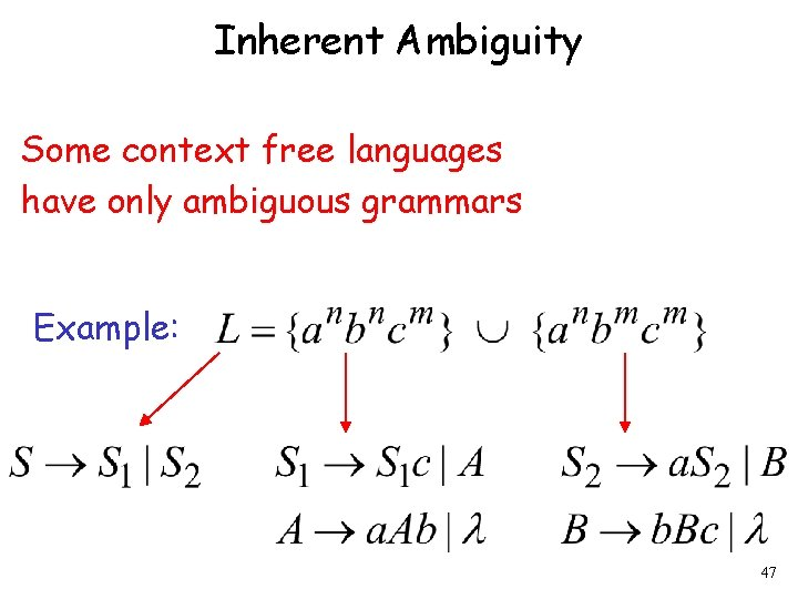 Inherent Ambiguity Some context free languages have only ambiguous grammars Example: 47