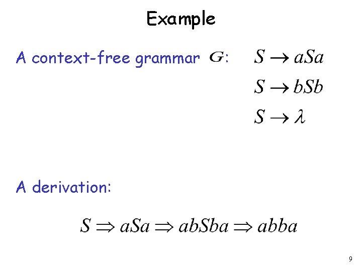 Example A context-free grammar : A derivation: 9