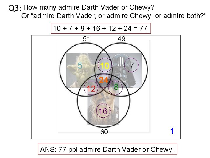 """Q 3: How many admire Darth Vader or Chewy? Or """"admire Darth Vader, or"""