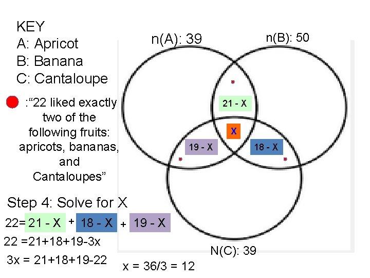 "KEY A: Apricot B: Banana C: Cantaloupe : "" 22 liked exactly two of"