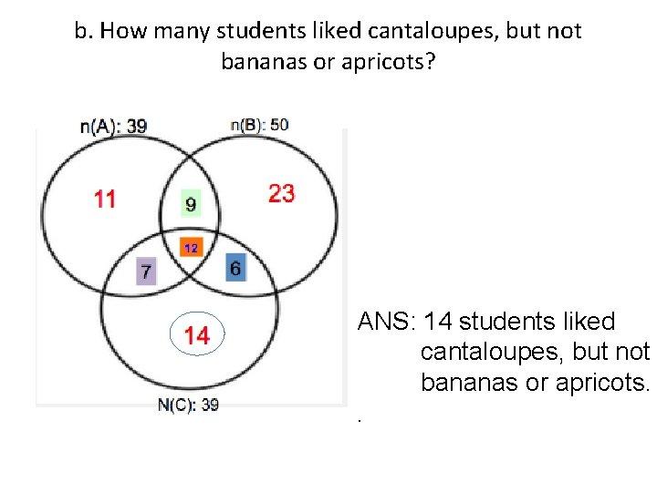 b. How many students liked cantaloupes, but not bananas or apricots? ANS: 14 students